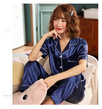 Women Pajamas Set Sleepwear Winter Long Sleeve Mujer Pijamas Nuisette Sexy Lingerie Nightwear Silk Satin Pyjamas pjs Suit 2Pcs 30