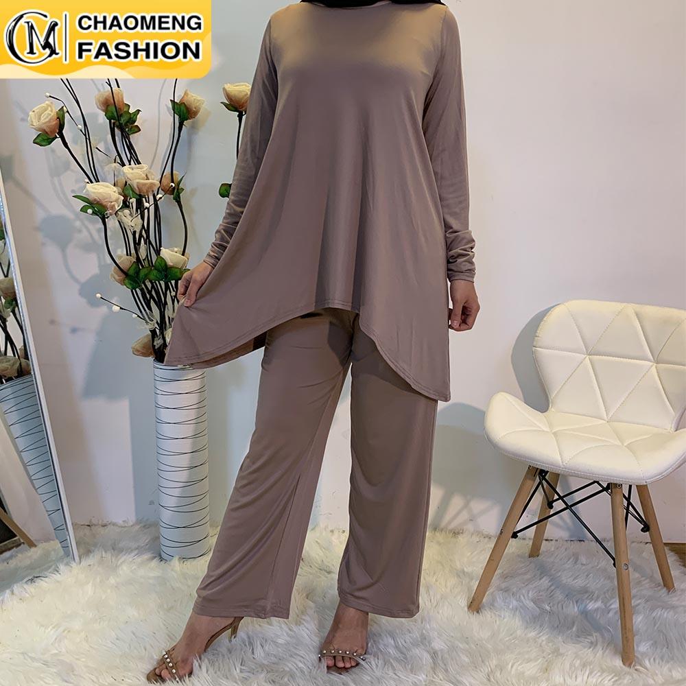 Eid Mubarak Abaya Dubai Tops And Pants Set Muslim Women Turkey Elegant Hijab Dress Islam Clothing Moroccan Fashion Ensembles