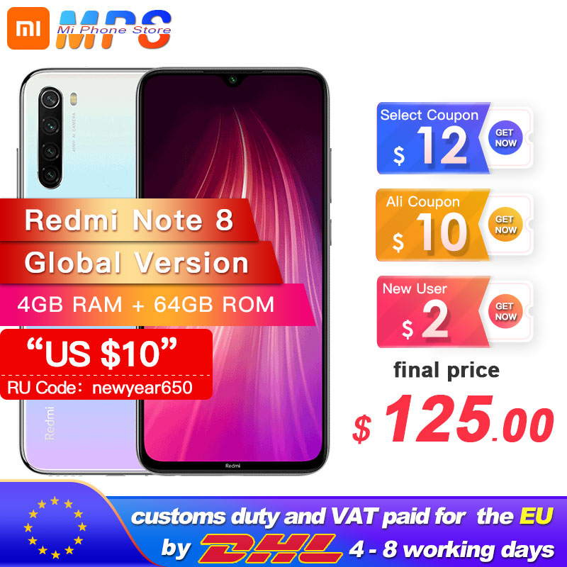 "Global Version Xiaomi Redmi Note 8 4GB 64GB Snapdragon 665 Octa Core Smartphone 6.3"" 48MP Quad Rear Camera MobilePhone"