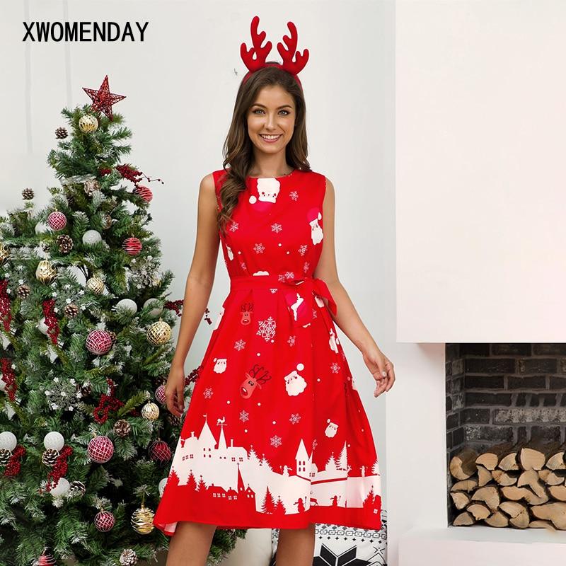 Autumn Winter Christmas Dress New Year Pleated Sleeveless Party Dress Women Snowflake Print Dress Plus Size Women Vestidos