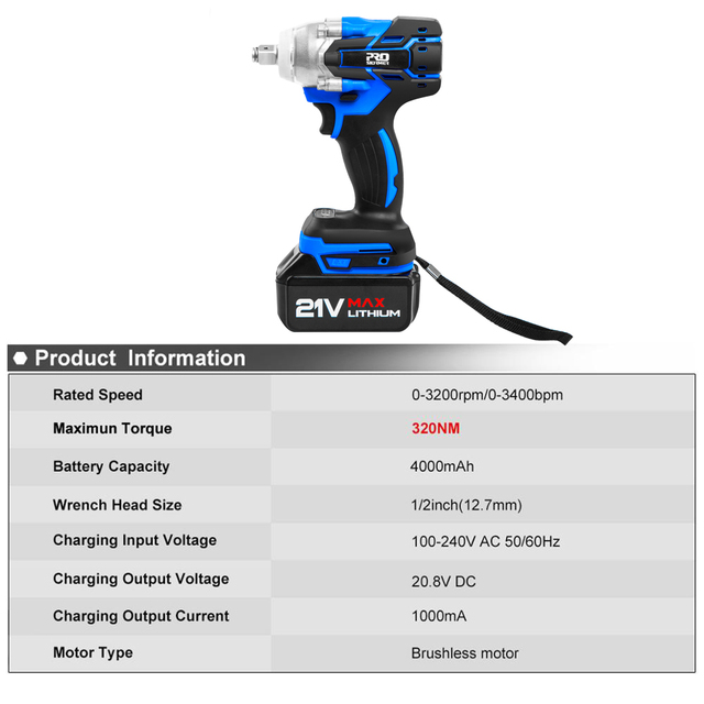 21V Impact Wrench Brushless Cordless Electric Wrench Power Tool 320N.m Torque Rechargeable Extra Battery Avaliable By PROSTORMER 2