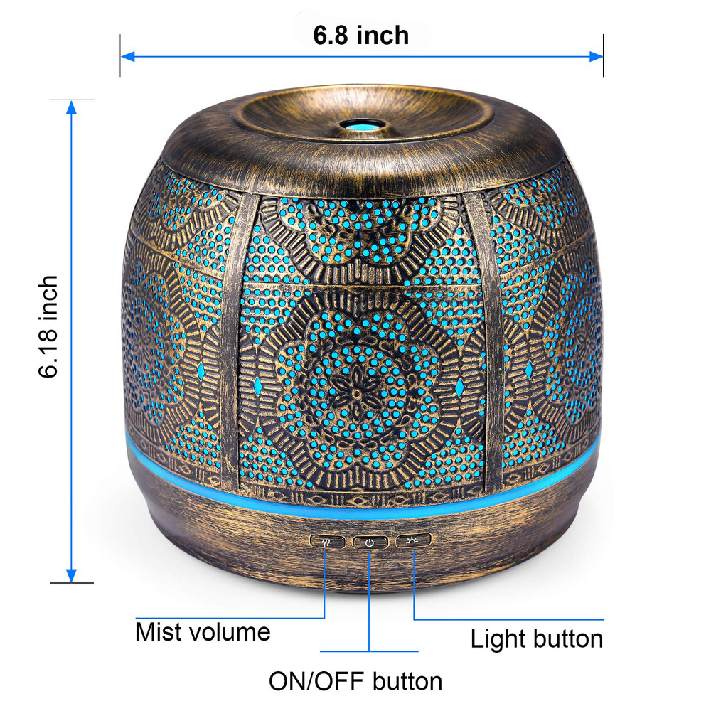 Aroma Diffuser 500ml bronze Metal Aromatherapy Diffuser for