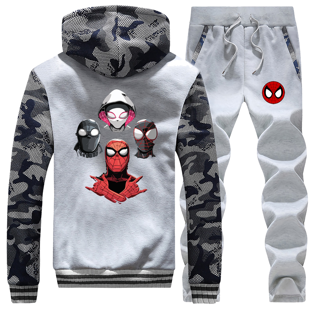Spider-Man Clothes Sets Winter Thick Men Hoody Warm Zip Coat Men Sports Pants Spider Man Parallel Universe Brand Jacket Trousers