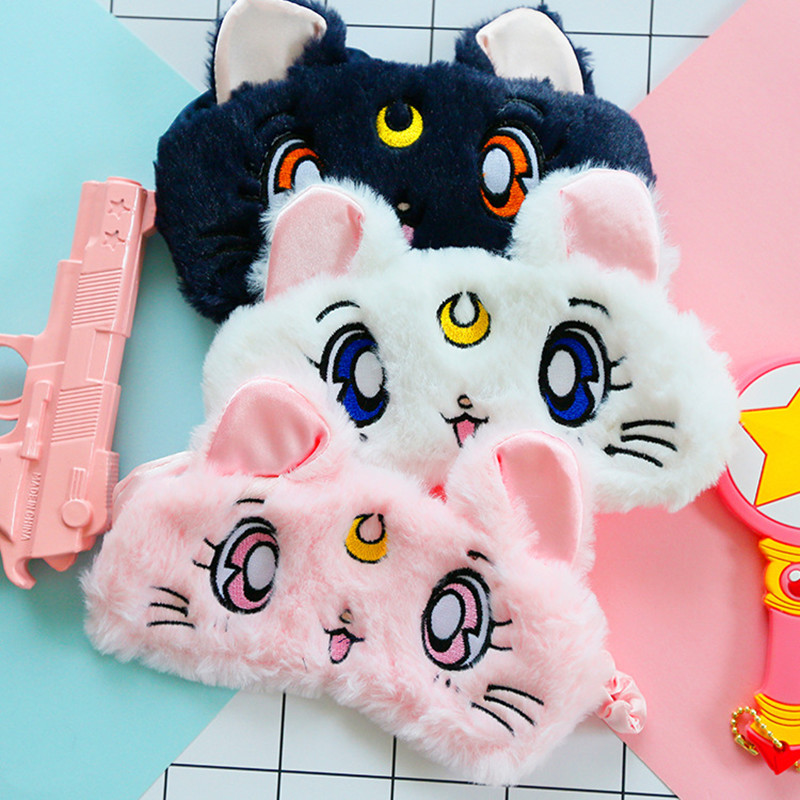 Anime Sailor Moon Cat Sleeping Mask Women Soft Sleep Aid Mask Eyeshade Blindfold