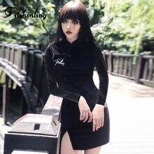 Fitshinling Vintage Velvet Dresses For Women Split Long Sleeve Winter Short Dress Female Black Buttons Vestidos Sale