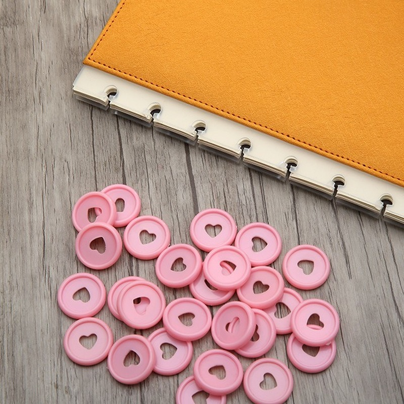 30PCS 23MM Colourful Binding Disc Buckle Notebook Mushroom Hole Plastic Book Ring Plastic Disc Binding Book Binding Supplies