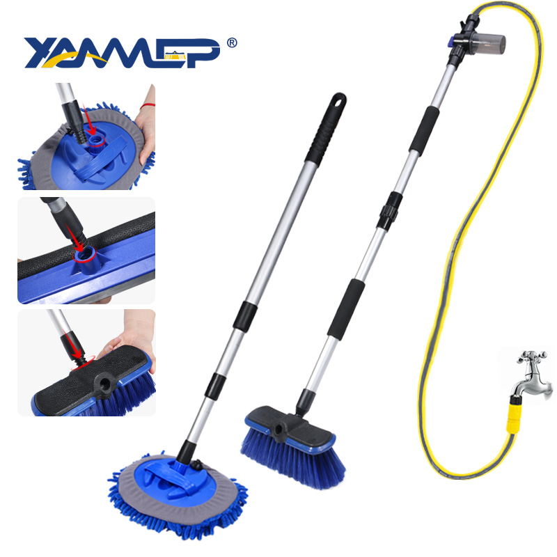 Car Wash Brush Cleaning Mop Chenille Broom Water Flow Windows Squeegee Telescoping Handle Foam Bottle Car Accessories Xammep