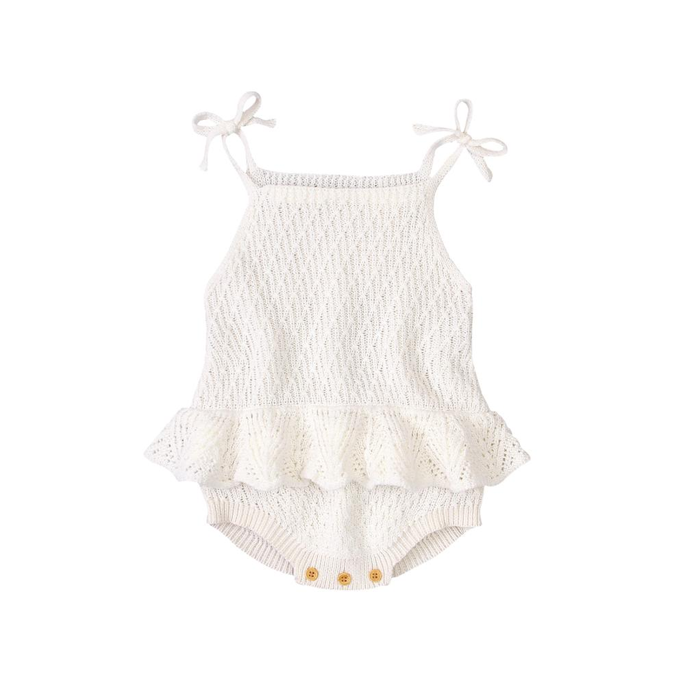Baby Bodysuit Cute Newborn Girl Outfits Clothes Tops Fashion Summer Toddler Infant Strap Jumpsuit Solid Knitted Kids Onesie 0-2Y