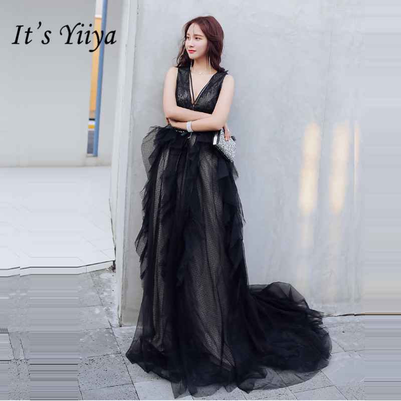 It's Yiiya Evening Gowns 2019 Sexy V-neck Backless Black Train Robe De Soiree Formal Sleeveless A-Line Women Party Dresses E874
