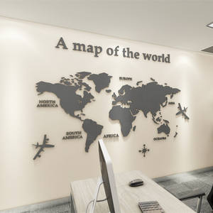 Wall-Sticker Mural World-Map Acrylic 3d Home-Decor Office European-Version For Kids Living-Room