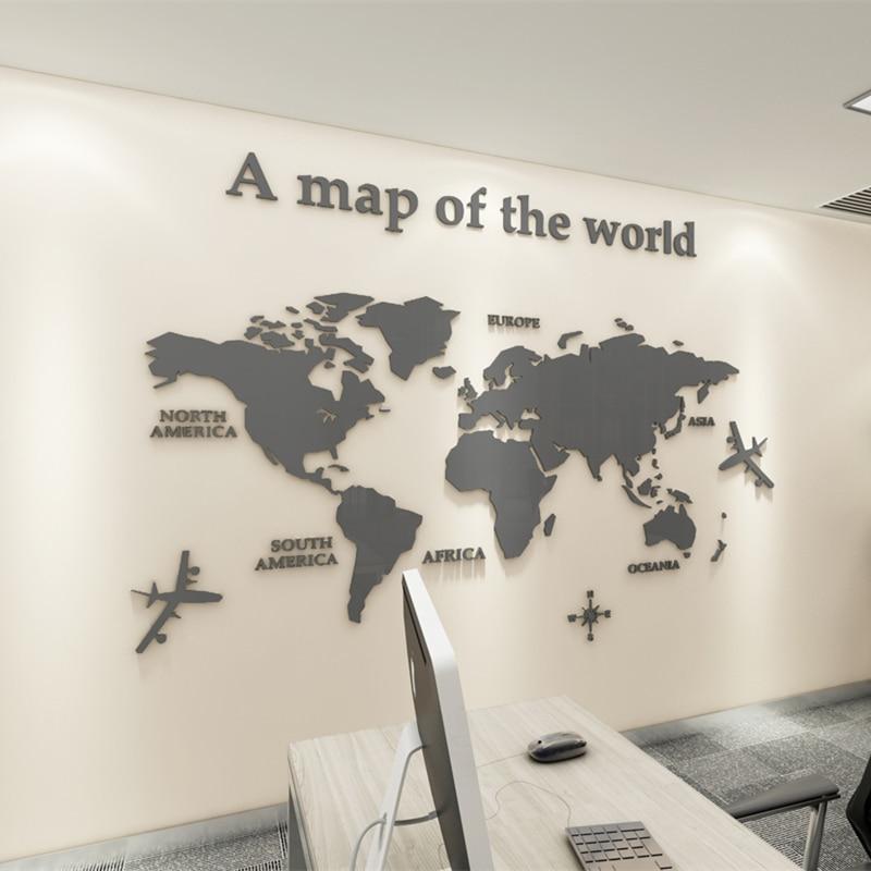 Mappa Del Mondo Adesivi da Parete 3D Cristallo Acrilico Soggiorno Divano Sfondo