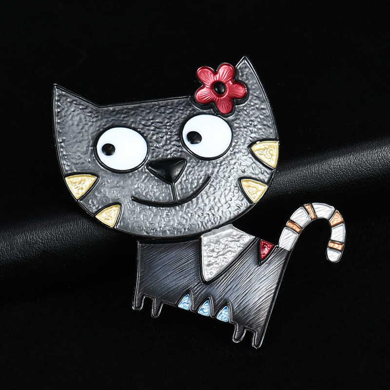 D & Rui, ювелирное изделие, Милая брошь с большим лицом, кошка, булавка для ребенка, подарок, новый дизайн, забавные заколки с животными, модные эмалированные броши, броши унисекс