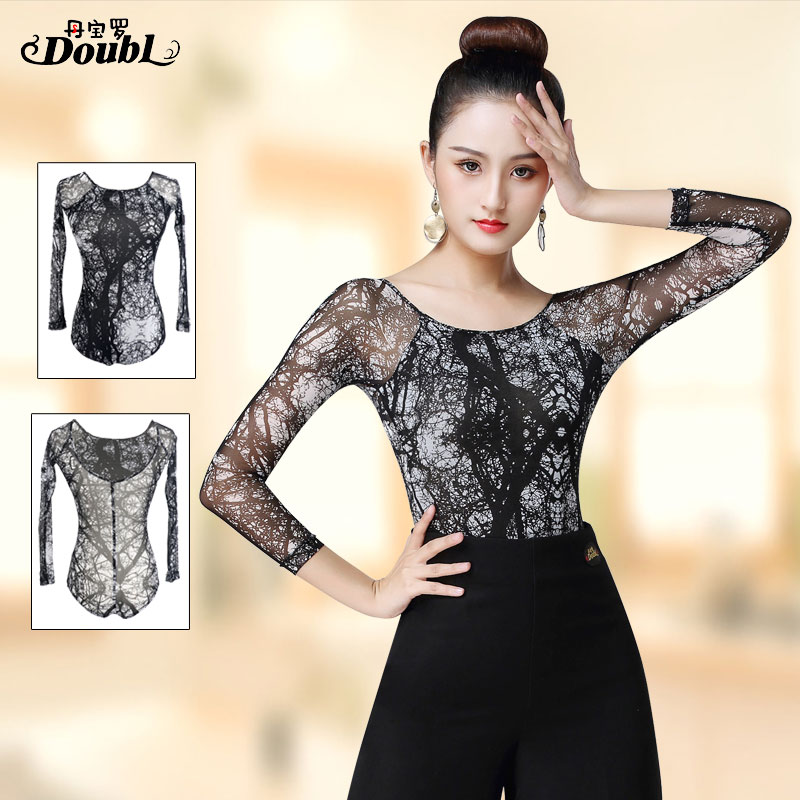 DOUBL One-piece Top Set Female Adults Latin Dance Top Modern Long Sleeve Practice Dance Practise Tops For Women UpperClothing