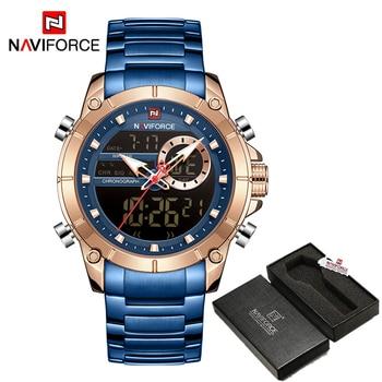 NAVIFORCE Men Military Sport Wrist Watch Gold Quartz Steel Waterproof Dual Display Male Clock Watches Relogio Masculino 9163 18