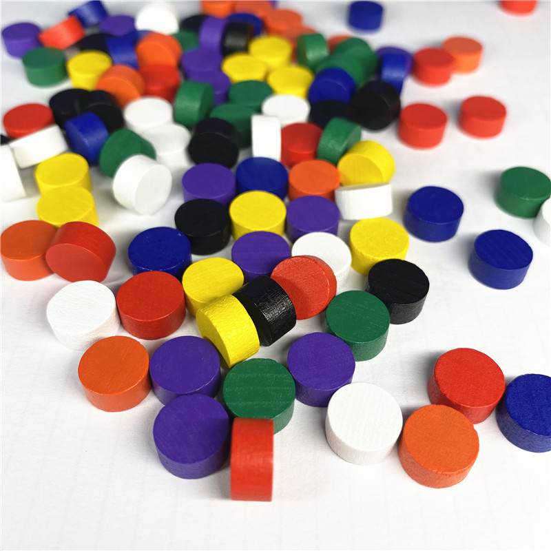 100Pcs Diameter 10*5MM 8 Colors Pawn Wooden Game Pieces Colorful Pawn/Chess For Board Game/Educational Games Accessories