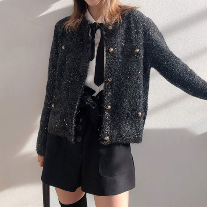 Women Knitted Jacket With Buttons Female Autumn Winter Contrast Color Sweater Outerwear Top
