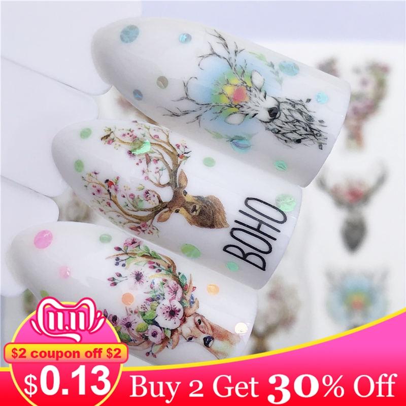 Zko flor veados/flor/moda antiga colar estilos arte do prego água transferência adesivos colorido dicas completas projetado