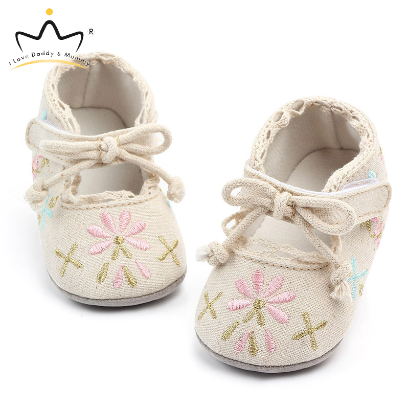 New Flower Embroidery Baby Girl Shoes Cotton Non-slip Soled Toddler Shoes Spring Summer Baby Shoes Princess Girls First Walkers