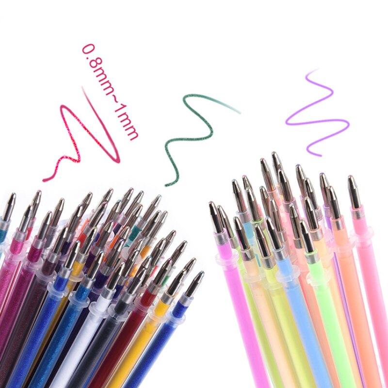 24Pcs Rainbow Flash Gel Pen Highlighter Refill Color Full Shinning Refills Painting Pen Refills Office Student Supplies