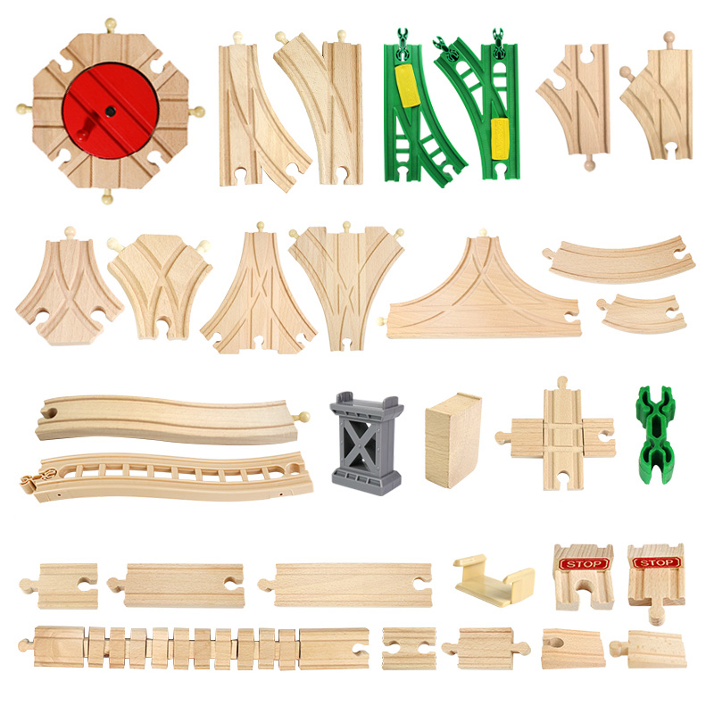 Wooden Train Track Accessories Beech Wood Train Railway Parts Compatible With Thomas Biro All Brands Train Toys Racing Tracks