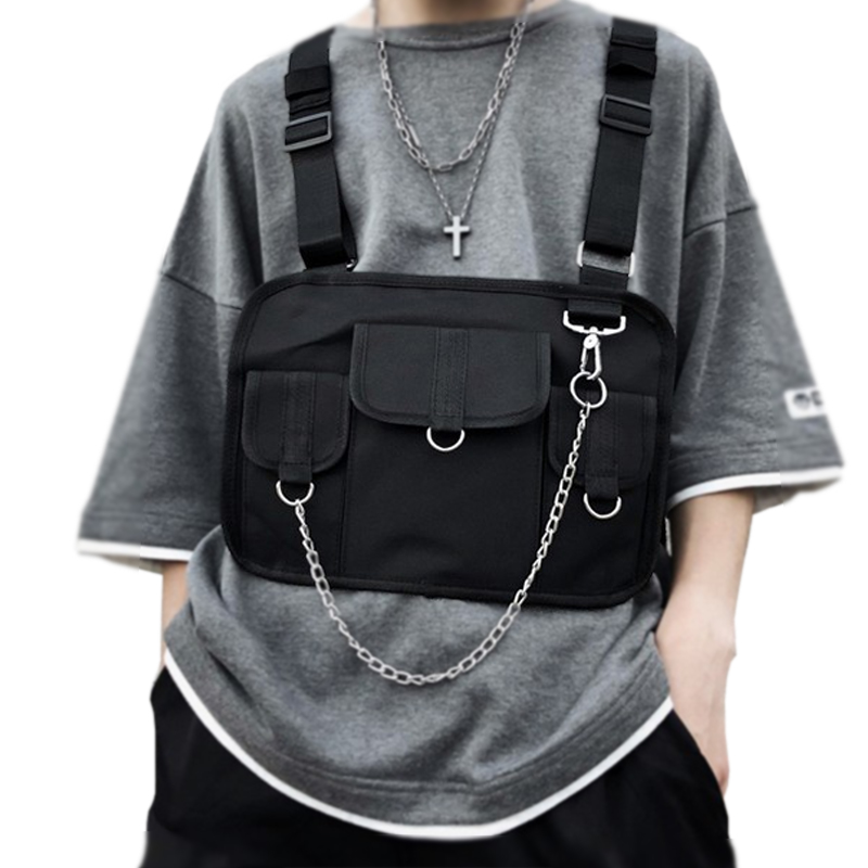 Women Tactical Shoulder Chest Kanye West Waist Pack Chest Bag For Men Hip Hop Harness Chest Rig Bag Vest Streewear Bags 616