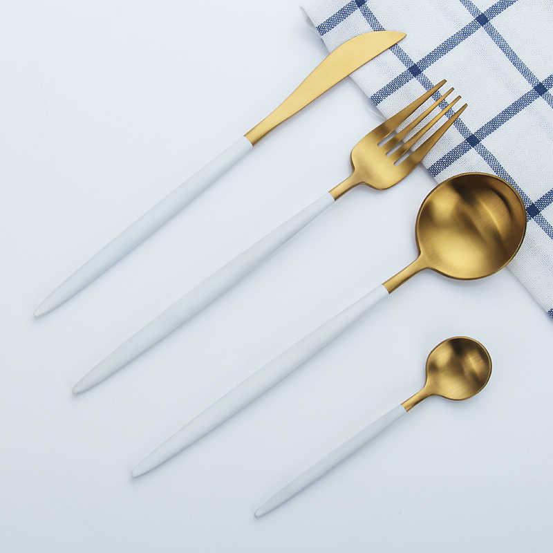 Bộ Dao Kéo Hợp Kim Inox 7 Dao Bộ Trắng Vàng Bộ 3 Thìa Ăn Uống Ăn Tối Bộ Đồ Ăn Phụ Kiện Nhà Bếp Tây Dao Kéo