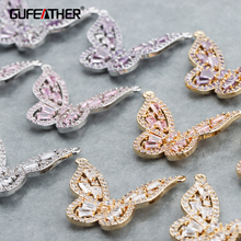 GUFEATHER M764,jewelry accessories,18k gold plated,0.3 microns,zircon pendant,butterfly shape,hand made,diy earrings,4pcs/lot