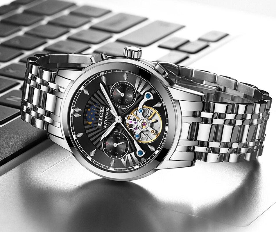 top marca de luxo automático mecânico relógio