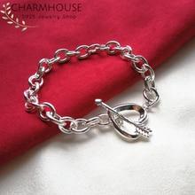 купить 925 Sterling Silver Charm Bracelets For Women Arrow & Heart Link Chain Bracelet & Bangles Wristband Pulseira Wedding Jewelry дешево