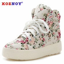 Koznoy Sneakers Women Increase Within Autumn Dropshipping Thick Bottom Fashion Breathable Flower Print Leisure Canvas Shoes