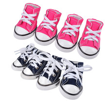 Dog Sporty Cloth Shoes 4 Pcs Puppy Pet Anti-slip Waterproof Sneakers Breathable Booties Denim Canvas Sneaker Boots
