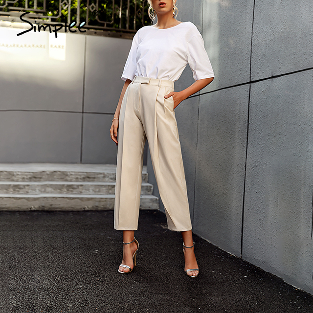 Solid High Waist Office Trousers 6