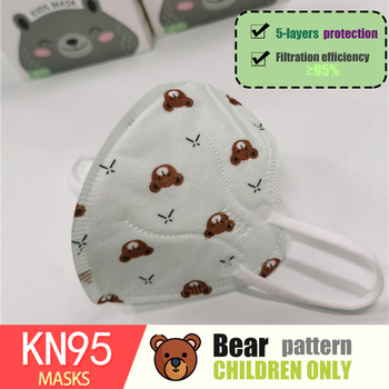 Cute Bear pattern Boy Kid KN95 Mask Mascarillas thicker 5 layer KN95 Children Mouth Mask Respirator Spain 10 day FAST Delivery