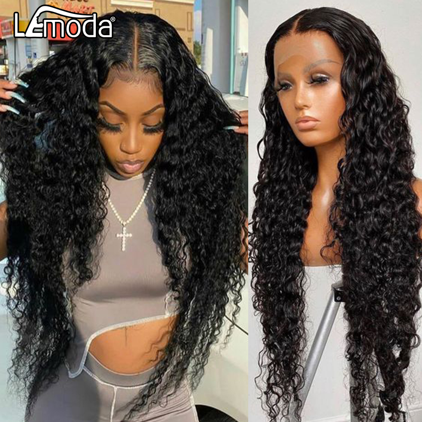 13x6 HD прозрачный кружевной парик, водные волны, кружевные передние человеческие волосы, парики для женщин, вьющиеся, глубокие волны, кружевно...