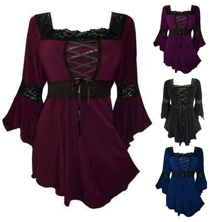 Plus Size Woman Medieval Renaissance Tops Halloween Cosplay Princess Gothic Bell Sleeve Shirt Steampunk Cotton Victorian Blouse