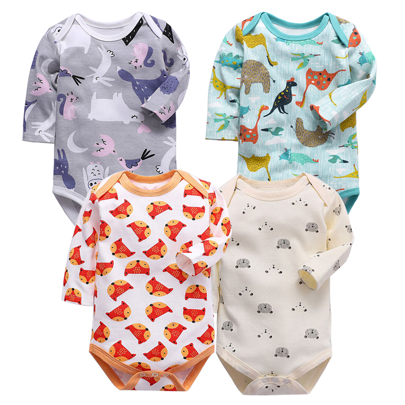 Newborn Bodysuit Babies Bebes Clothes Long Sleeve Baby Cotton Printing Infant Clothing 1pcs 3 6 9 12 18 24 Months