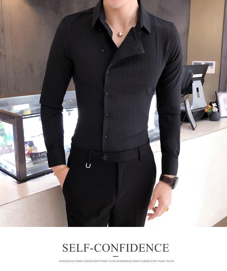 H8e81e7d0566f44989e1f867d74d5b21cG Solid Color Shirt Dress Brand New Slim Fit Men Shirt Solid Long Sleeve Shirts Men Camisa Masculina Tuxedo Clothes