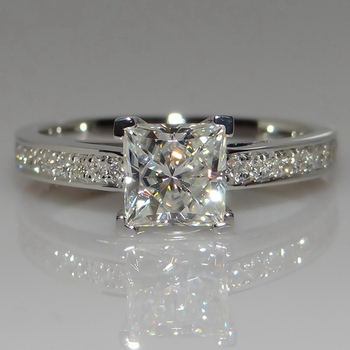 Simple Square Jewelry Ring Princess Cut 1ct AAAAA Zircon Cz Silver Colour Engagement Wedding Band Ring For Women image