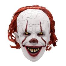 Rambut Merah Badut Novel Halloween Lateks Mengerikan Masker Cosplay Pesta Kostum Prop(China)