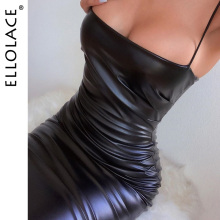 Ellolace Fashion Pu Leather Black Midi Dress Women Spaghetti Slim Dress