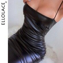Ellolace Fashion Pu Leather Black Midi Dress Women Spaghetti