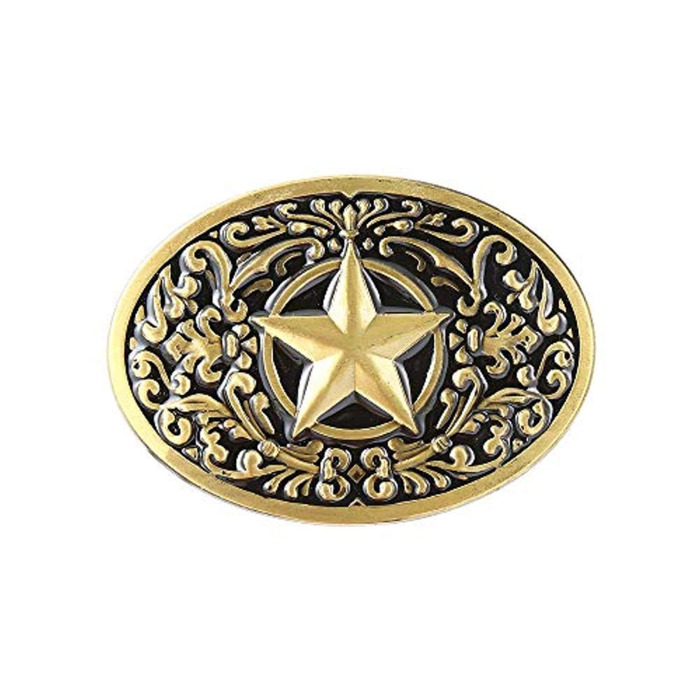 Copper Star Pentagram Color Belt Buckle For Man Western Cowboy Buckle Without Belt Custom Alloy Width 4cm