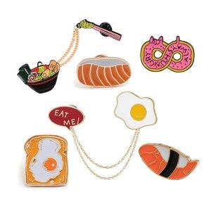 Cartoon Food Enamel Pins Japanese Porpoise Ramen Salmon Sushi Brooch Donuts Bread Fried Egg Lapel Pin Badge Jewelry Gift for Kid