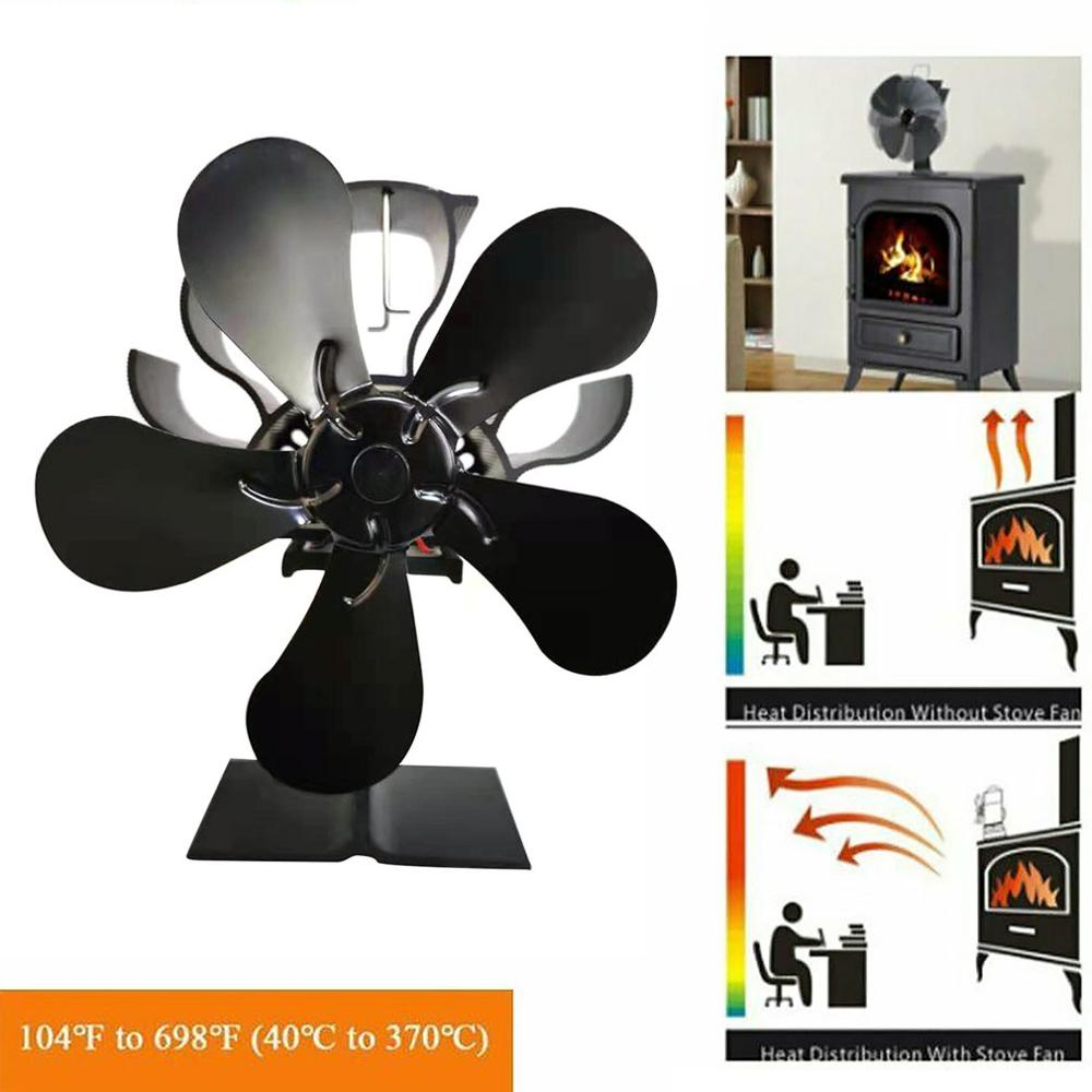Home Aluminum Alloy 4 Blades Heat Powered Stove Fan Wood Log Burning Hanging Fireplace Blower Family Heat Powered Stove Fan