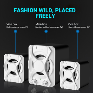 Image 3 - USB + AUX Wired Computer Subwoofer Speakers 5W+3W*2 Set Bass Reinforcement Stereo 2.1 Speakers for PC Phone Loudspeaker