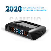 Sameuo Tpms Sensor Tpms Auto Bandenspanning Alarm Monitor Systeem Glas Draadloze Zonne energie Tpms Met 4 Externe Senso Voor auto S