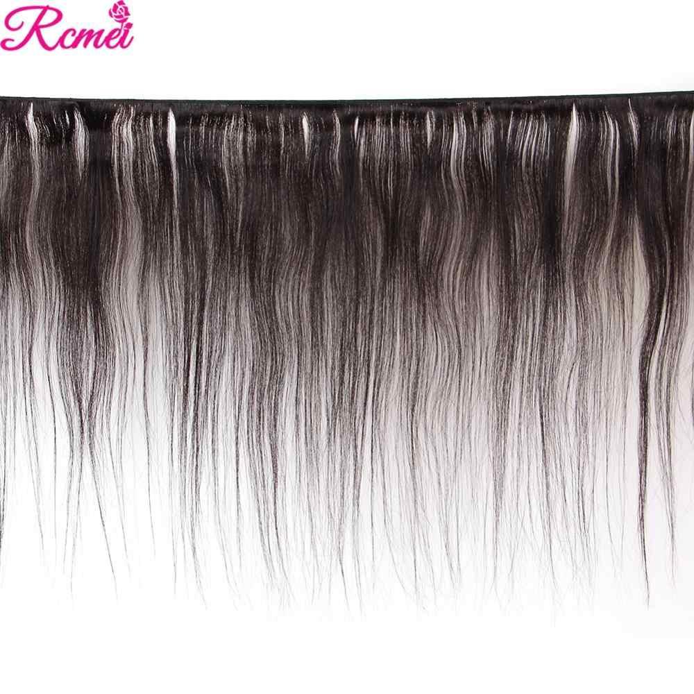 Mechones de cabello humano postizo brasileño 36 38 40 liso con cierre, 3 manojos largos con cierre de encaje, extensiones de cabello humano 4*4 Remy