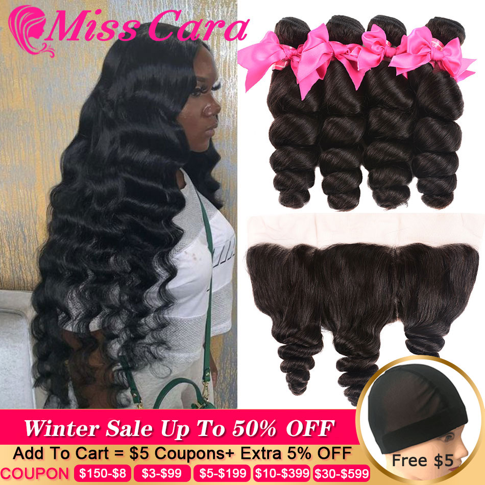 Peruvian Loose Wave Bundles With Frontal 100% Human Hair 3/4 Bundles With Frontal Miss Cara Remy Hair Frontal With Bundles