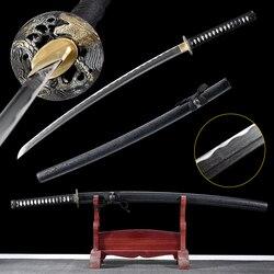 Handforged Folded Steel Samurai Sword Real Japanese Katana Sharpness Edge Ready For Cutting-Black Mat Sheath -41Inch