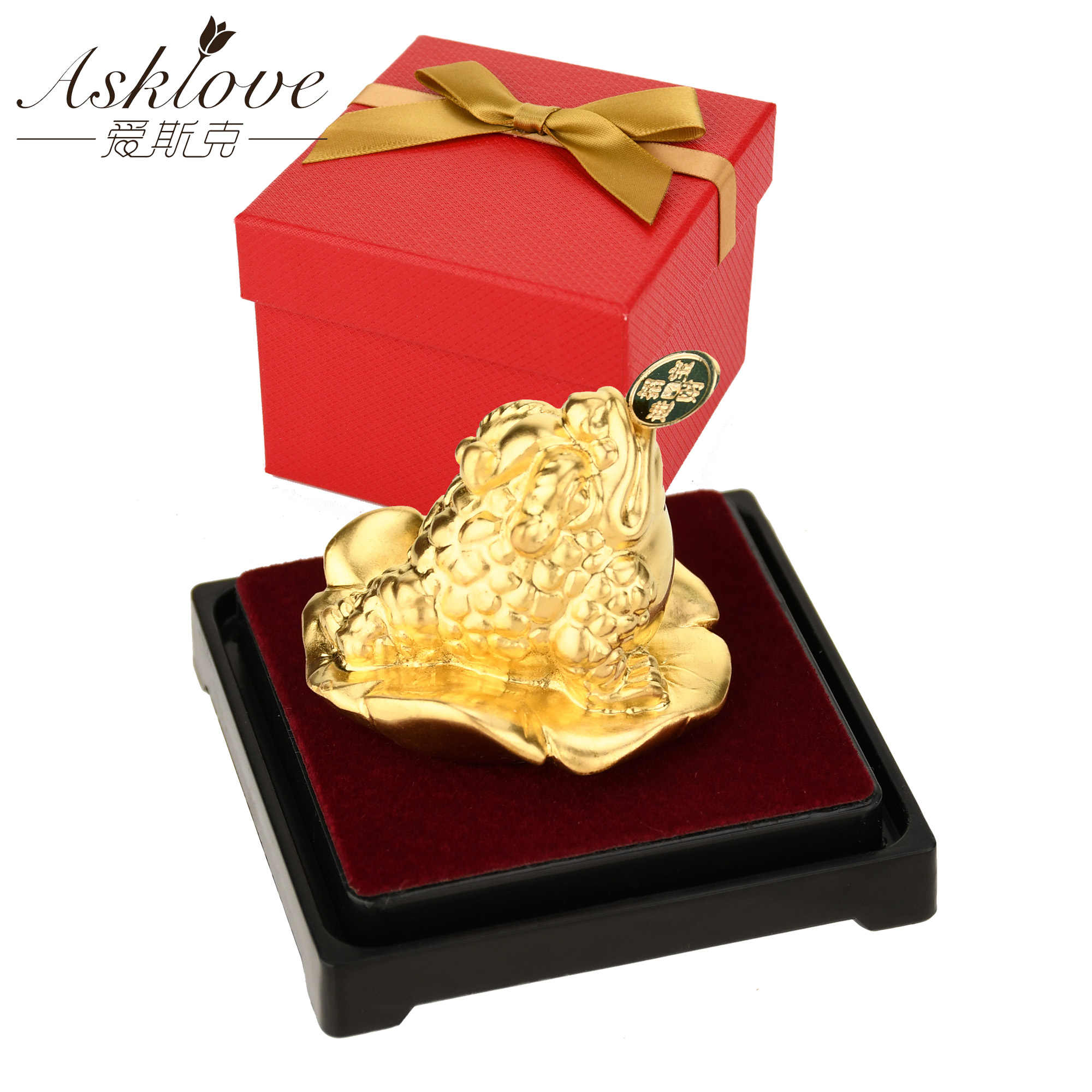24 K Goud Folie Kikker Feng Shui Pad Chinese Gouden Kikker Geld Geluk Fortuin Rijkdom Kantoor Tafelblad Ornament Home Decor geluk Geschenken